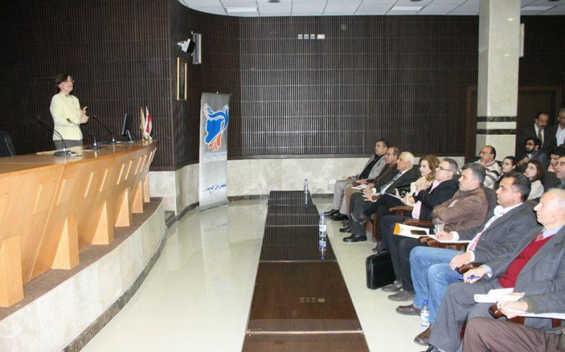 تطبيقات التقانات النانوية في علوم المواد خلال المحاضرة الثالثة للمرحلة الثانية من سلسلة المحاضرات العلمية التي يقيمها تجمع سورية الام