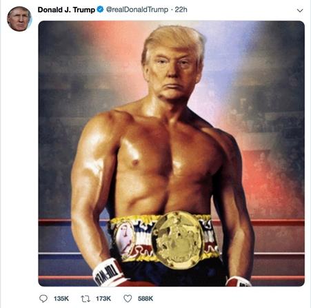 ترامب يثير جدلا على تويتر بعد نشر صورته على هيئة شخصية روكي
